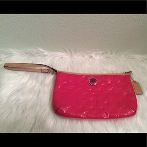 Coach pink faux patent leather wristlet super cute